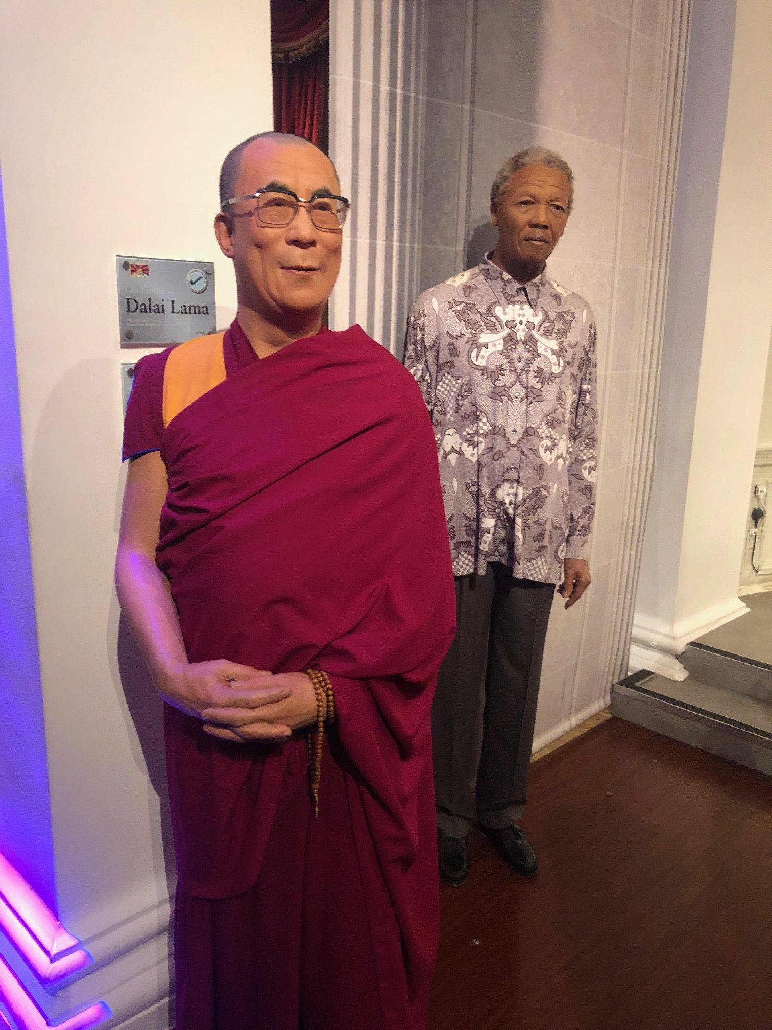 Mandela and Dalai Lama Wax Statues